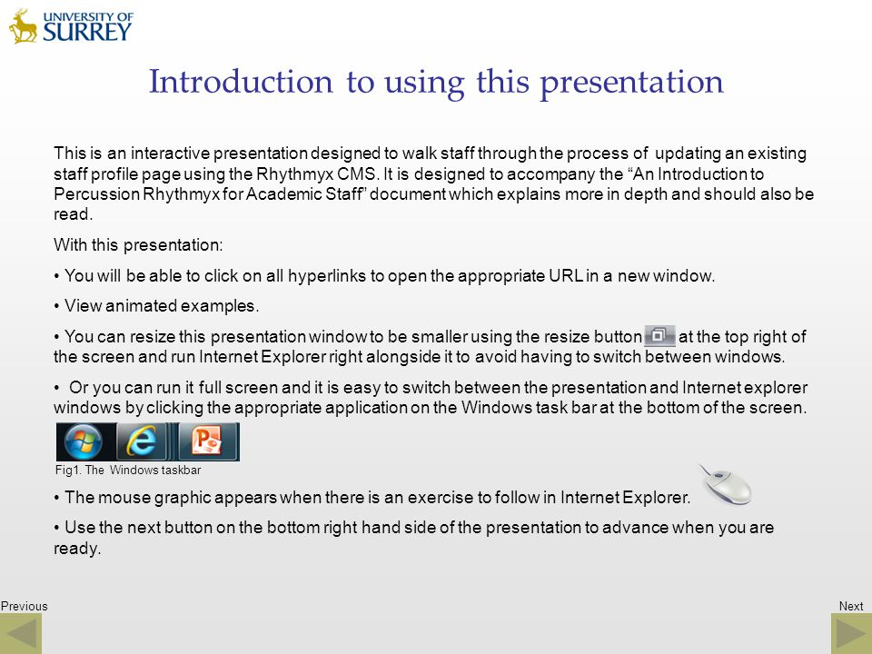 Introduction to using this presentation