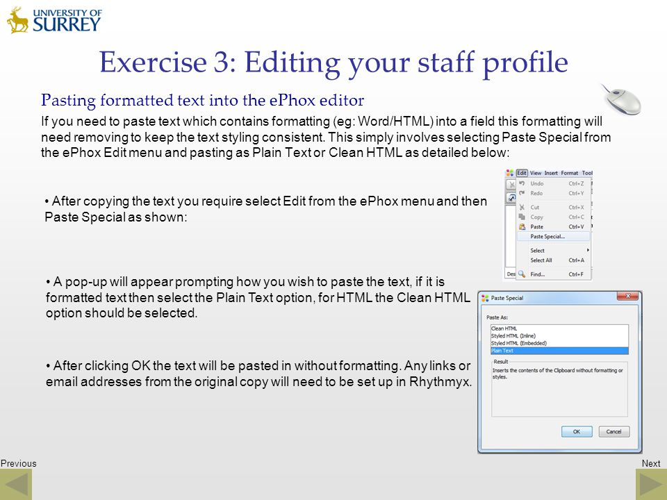 Exercise 3: Editing your staff profile