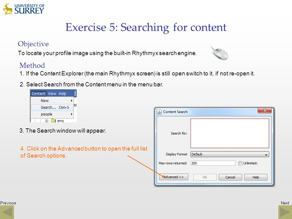 Exercise 5: Searching for content