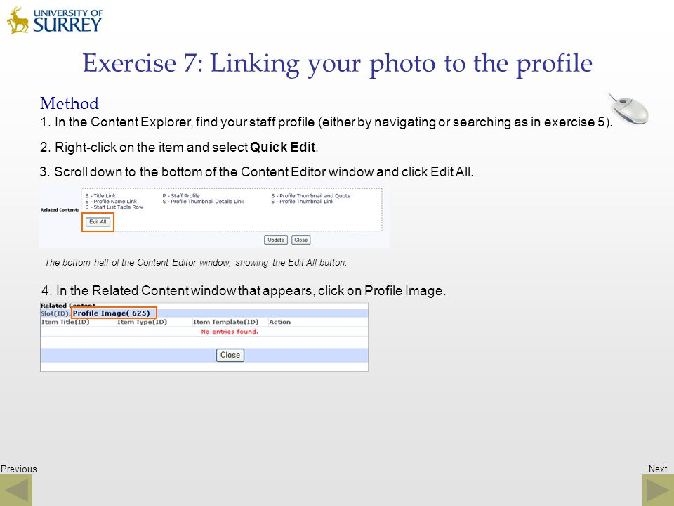 Exercise 7: Linking your photo to the profile