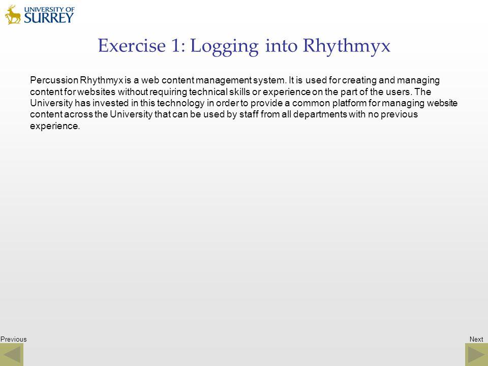 Exercise 1: Logging into Rhythmyx