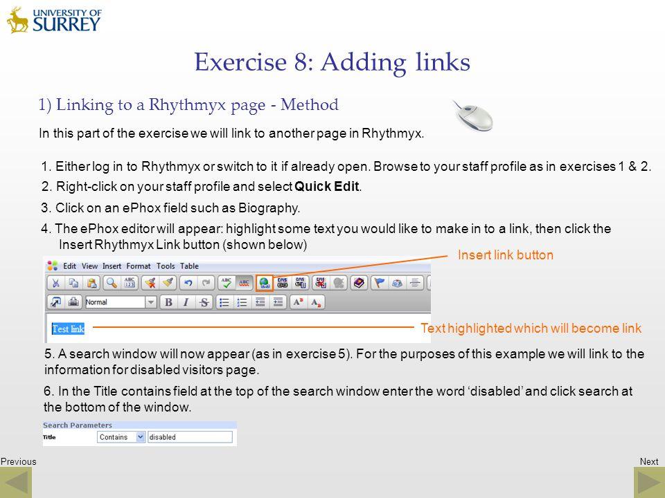 Exercise 8: Adding links