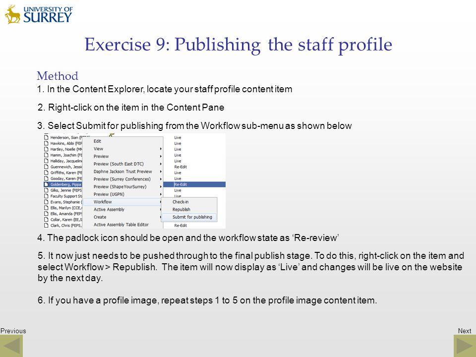 Exercise 9: Publishing the staff profile