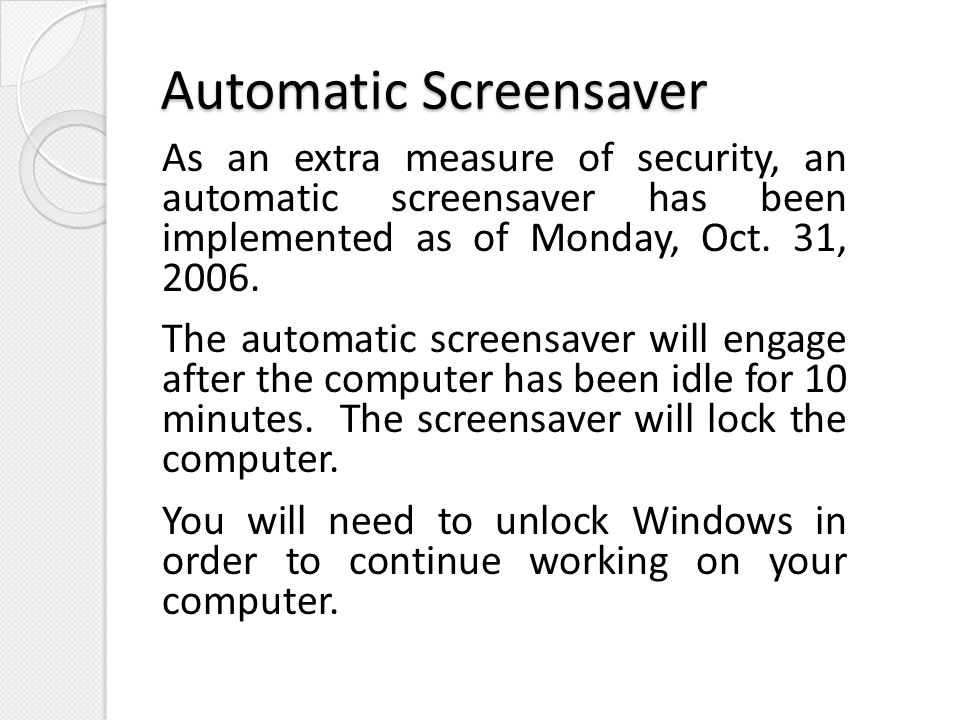 Automatic Screensaver
