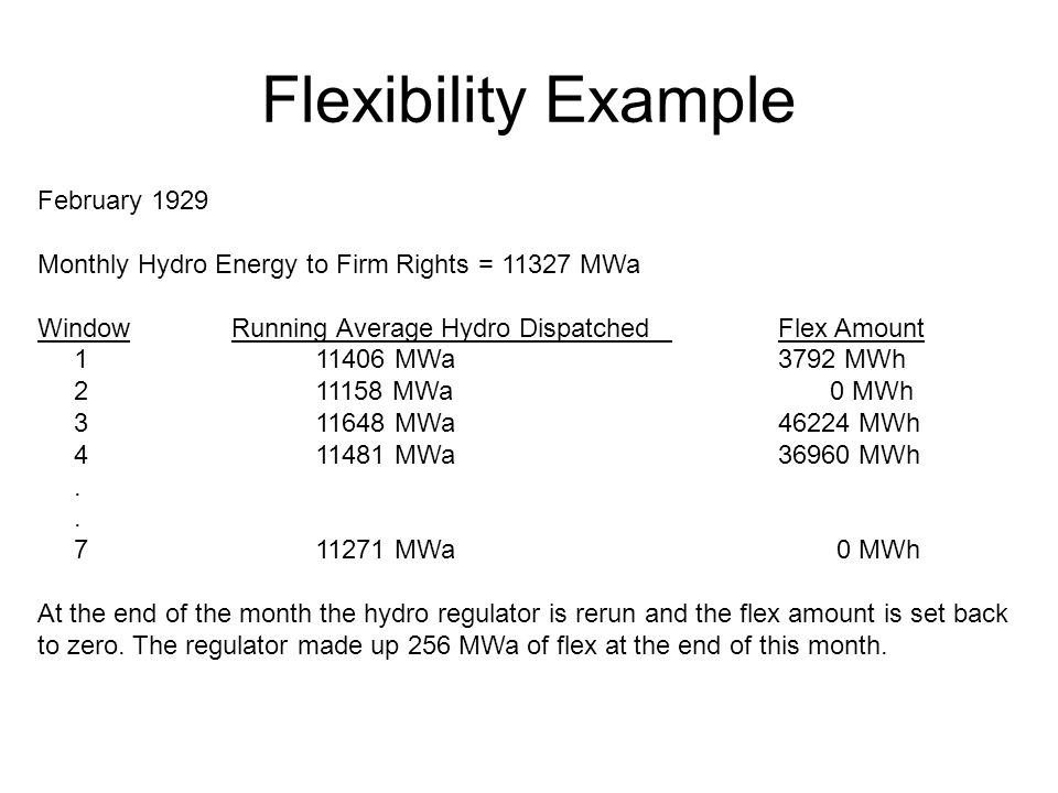 Flexibility Example February 1929