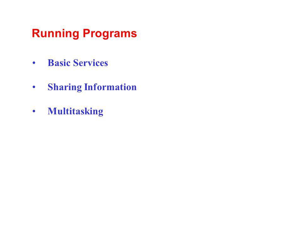 Running Programs Basic Services Sharing Information Multitasking