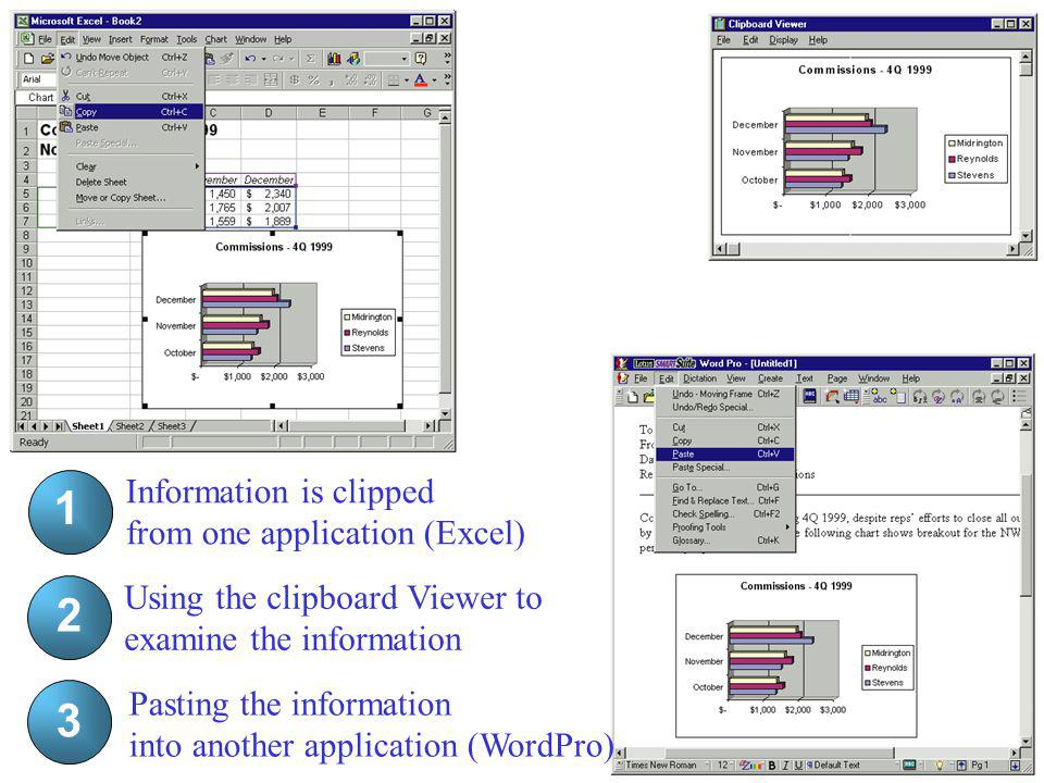 2 1 1 2 3 3 Information is clipped from one application (Excel)