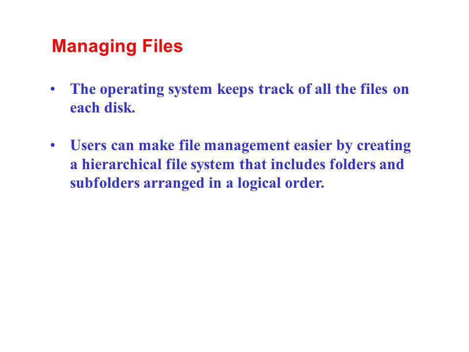 Managing Files The operating system keeps track of all the files on each disk.