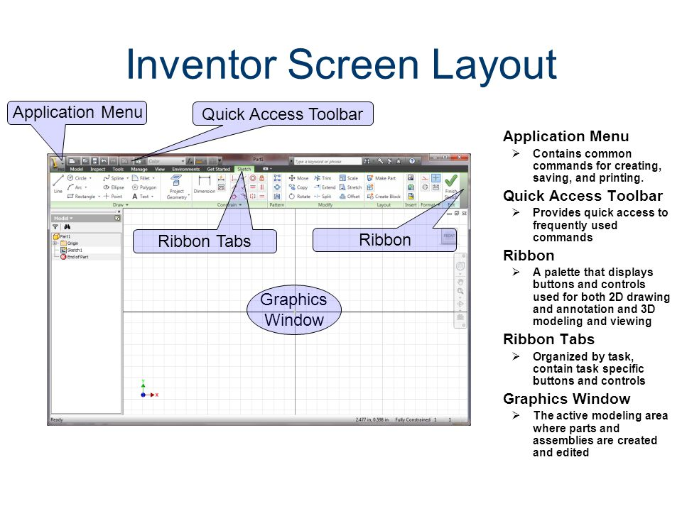 Inventor Screen Layout