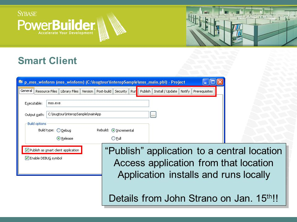 Publish application to a central location