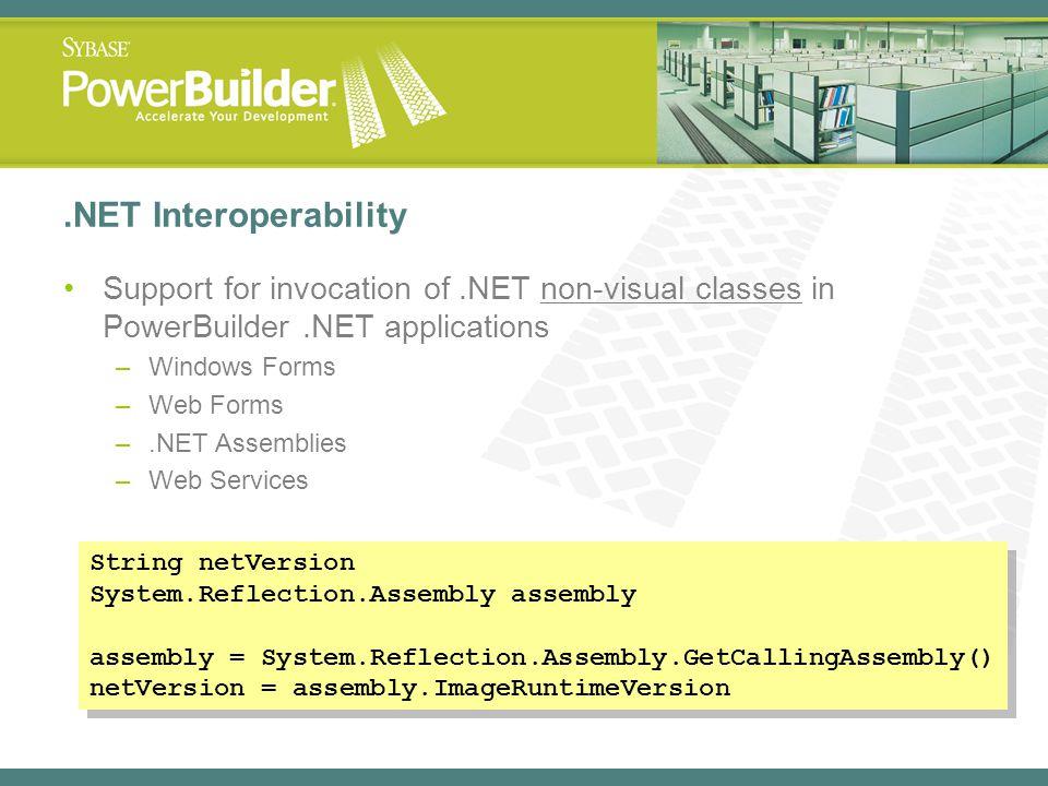 .NET Interoperability Support for invocation of .NET non-visual classes in PowerBuilder .NET applications.