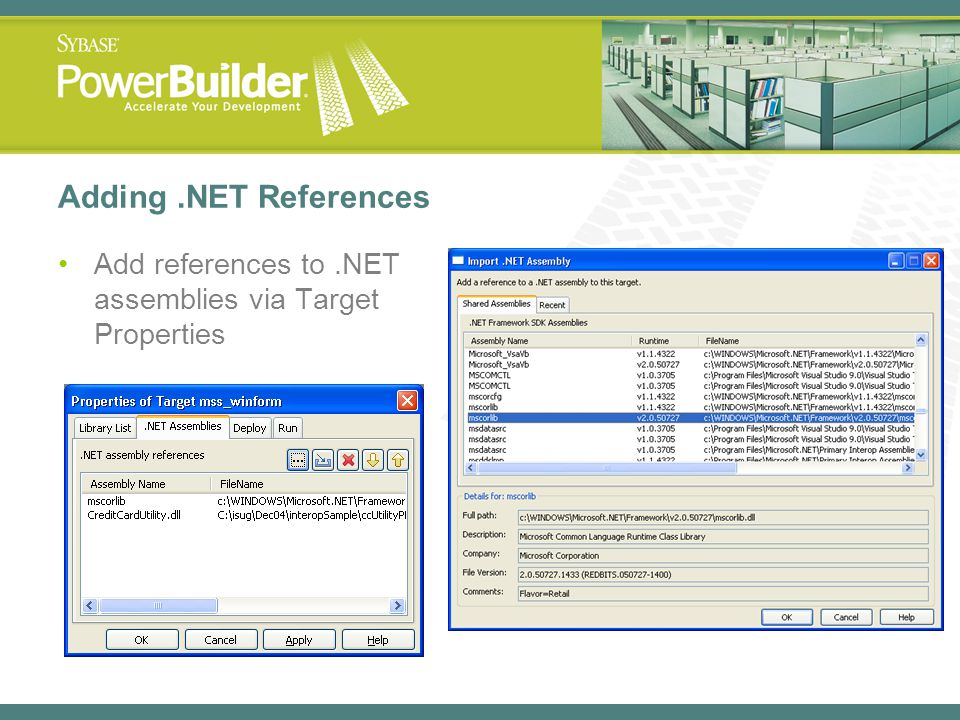 Adding .NET References Add references to .NET assemblies via Target Properties.