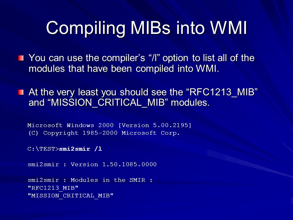Compiling MIBs into WMI