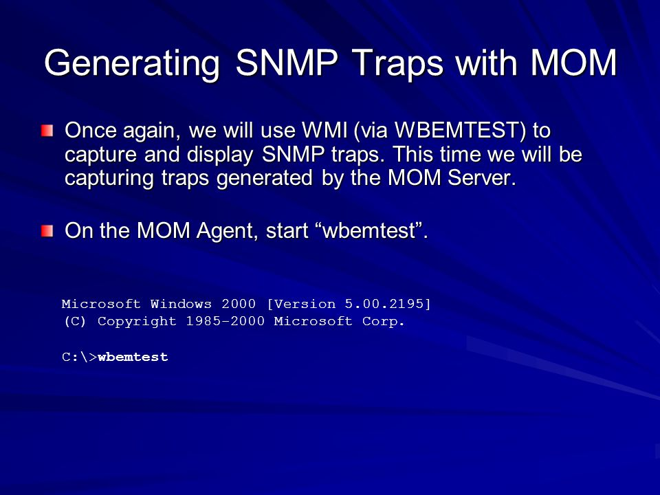 Generating SNMP Traps with MOM