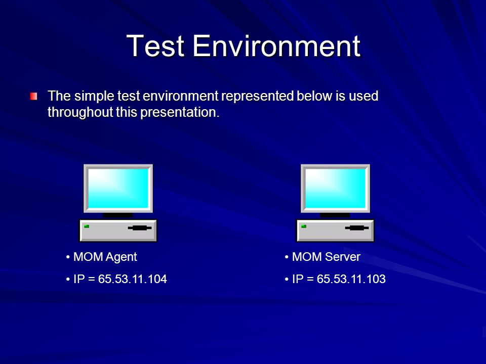 Test Environment The simple test environment represented below is used throughout this presentation.