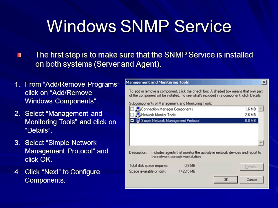 Windows SNMP Service The first step is to make sure that the SNMP Service is installed on both systems (Server and Agent).