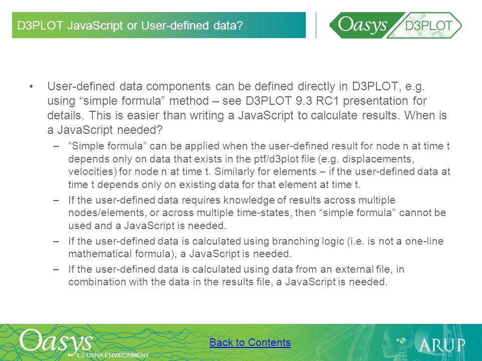 D3PLOT JavaScript or User-defined data
