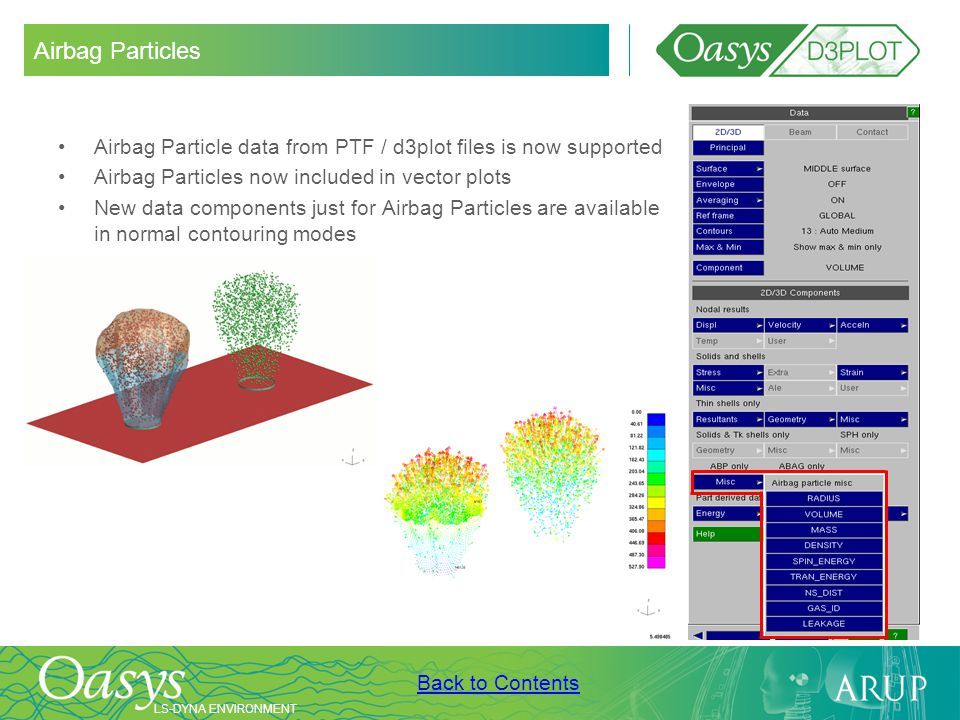 Airbag Particles Airbag Particle data from PTF / d3plot files is now supported. Airbag Particles now included in vector plots.
