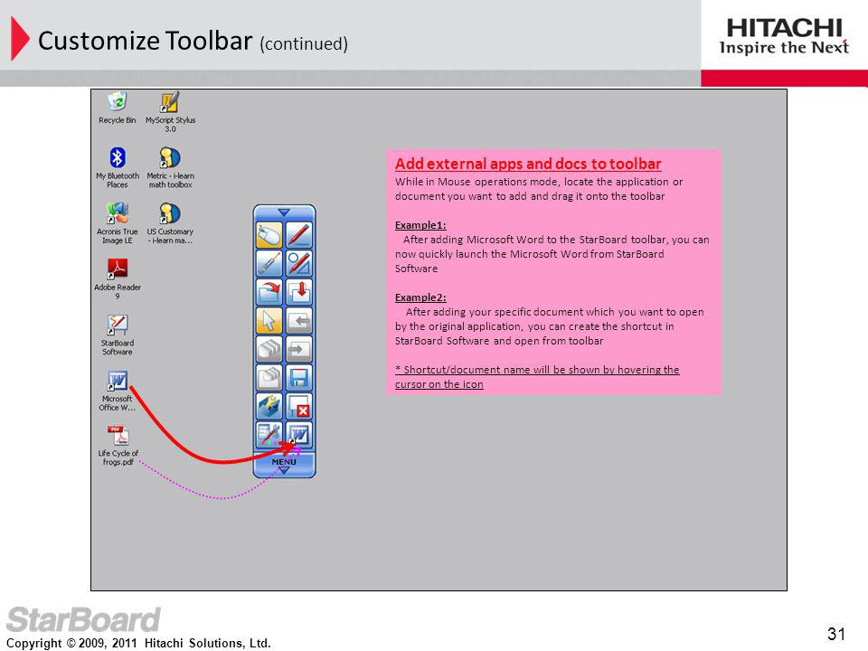 Customize Toolbar (continued)
