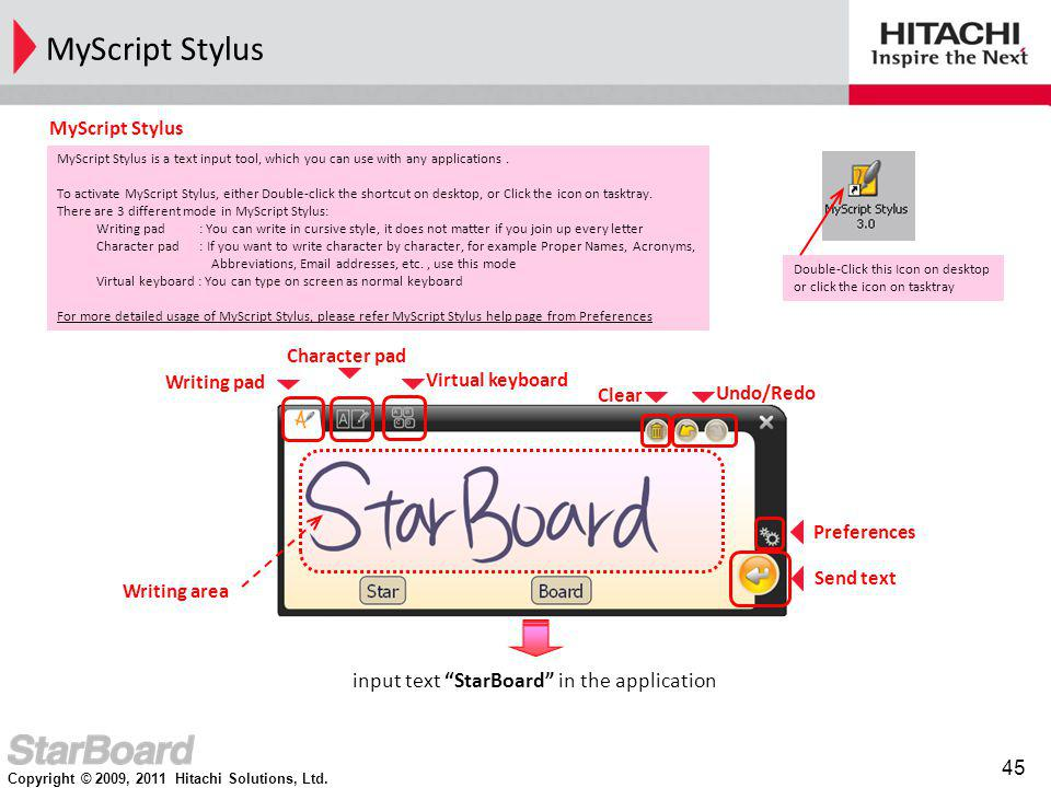 MyScript Stylus input text StarBoard in the application
