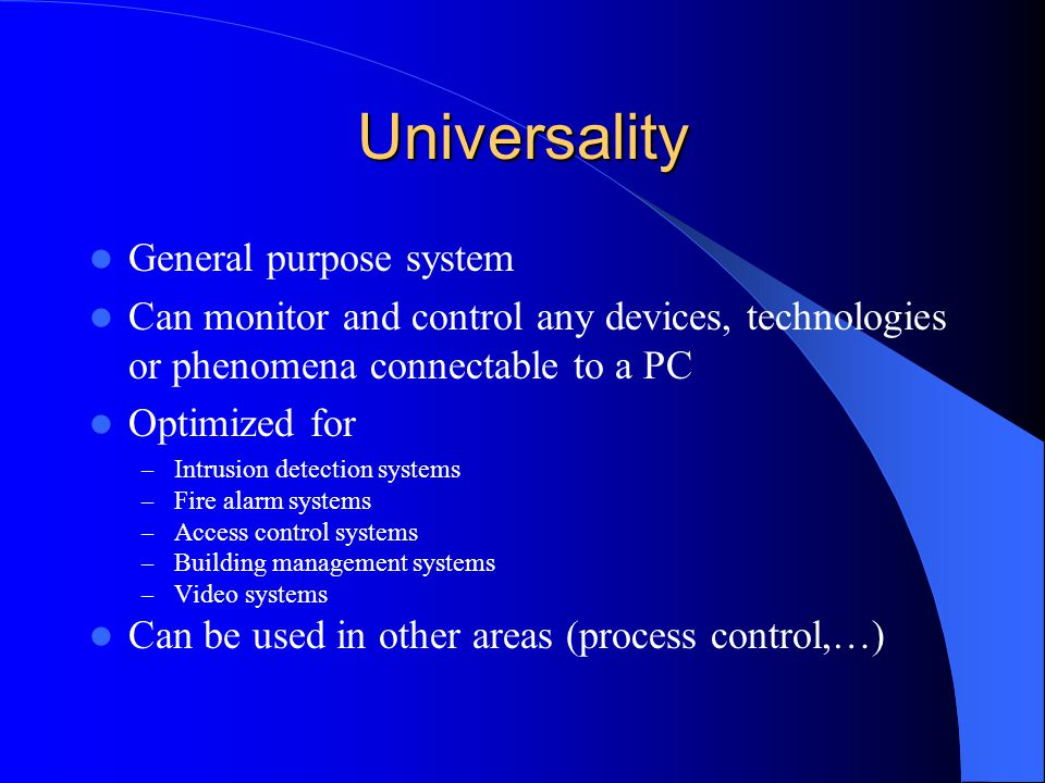 Universality General purpose system