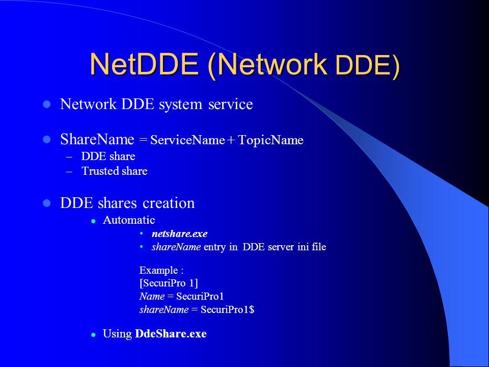 NetDDE (Network DDE) Network DDE system service