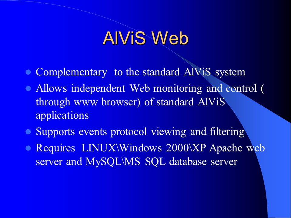 AlViS Web Complementary to the standard AlViS system