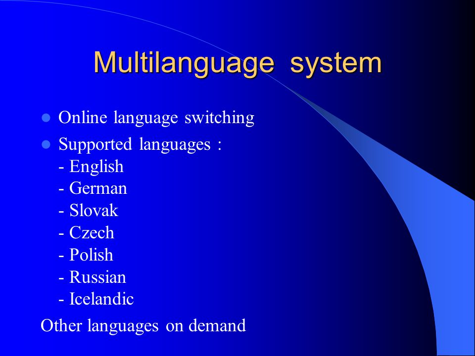 Multilanguage system Online language switching