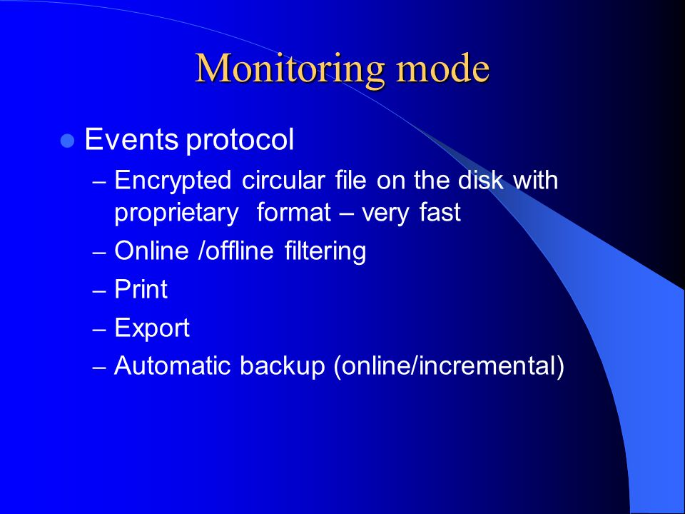 Monitoring mode Events protocol