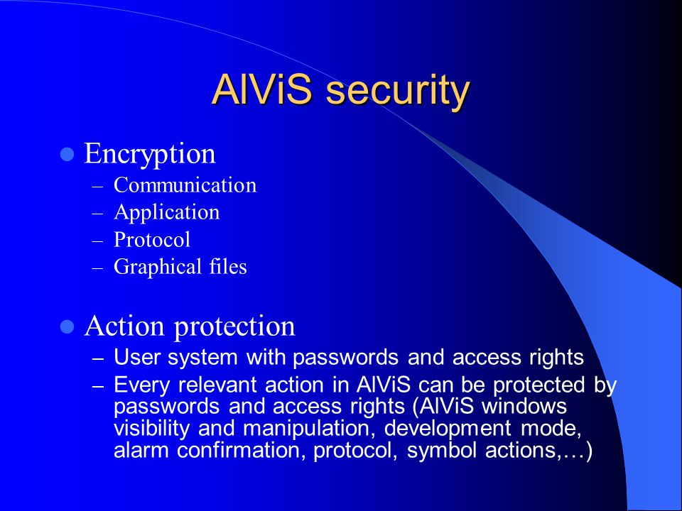 AlViS security Encryption Action protection Communication Application