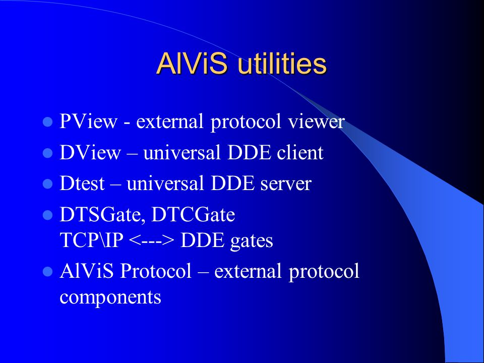 AlViS utilities PView - external protocol viewer