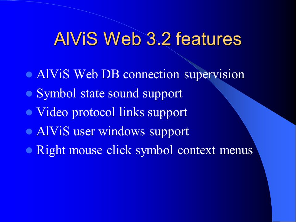 AlViS Web 3.2 features AlViS Web DB connection supervision