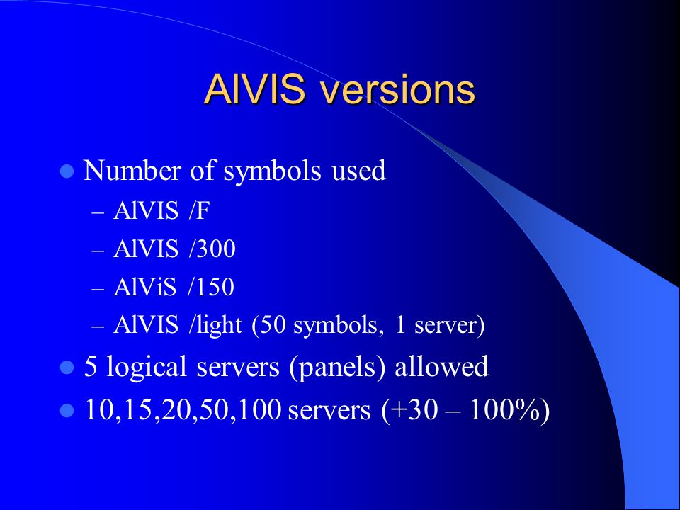 AlVIS versions Number of symbols used