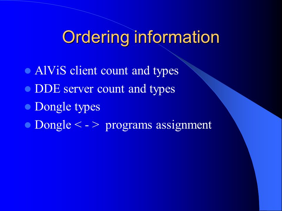 Ordering information AlViS client count and types