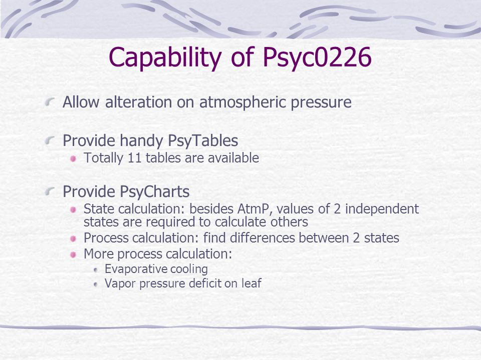 Capability of Psyc0226 Allow alteration on atmospheric pressure