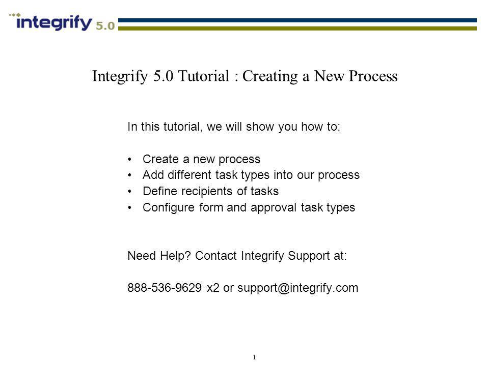 Integrify 5.0 Tutorial : Creating a New Process