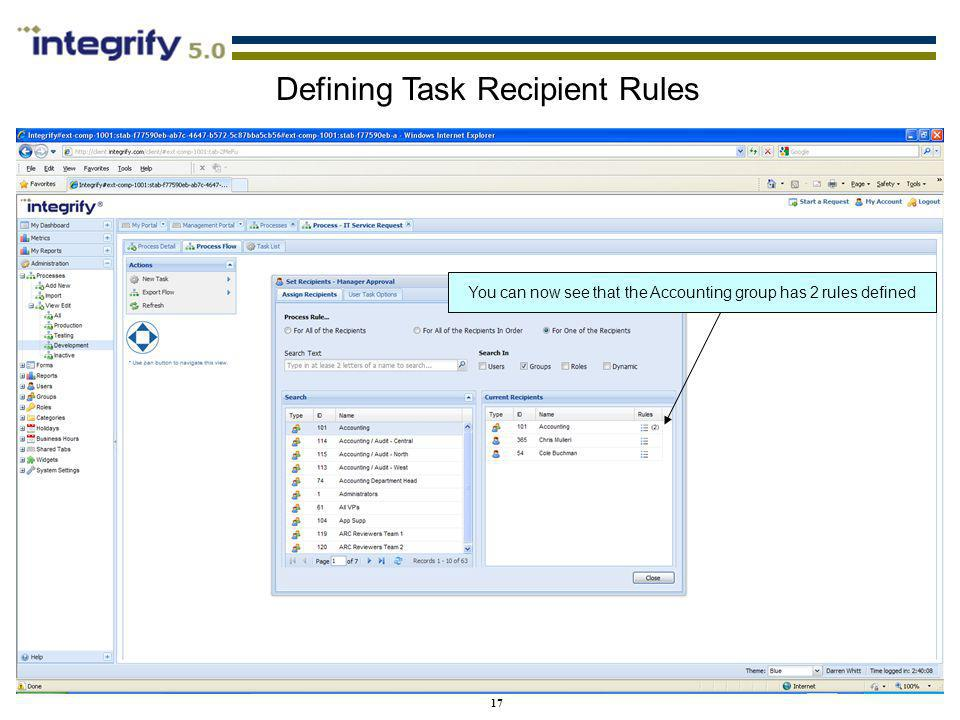 Defining Task Recipient Rules