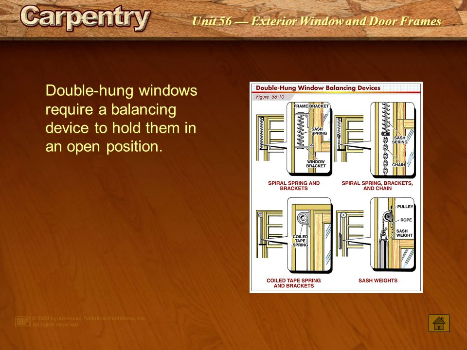 Double‑hung windows require a balancing device to hold them in an open position.