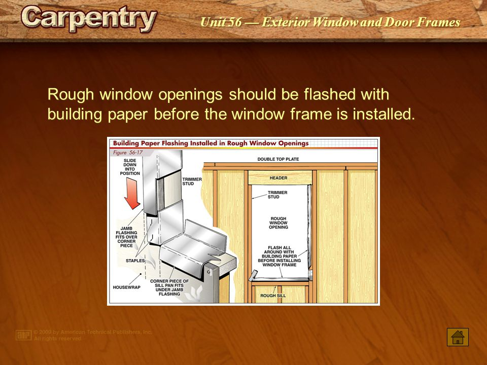 Rough window openings should be flashed with building paper before the window frame is installed.