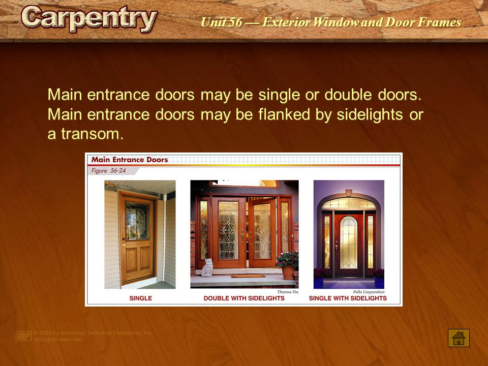 Main entrance doors may be single or double doors