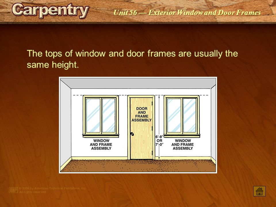 The tops of window and door frames are usually the same height.