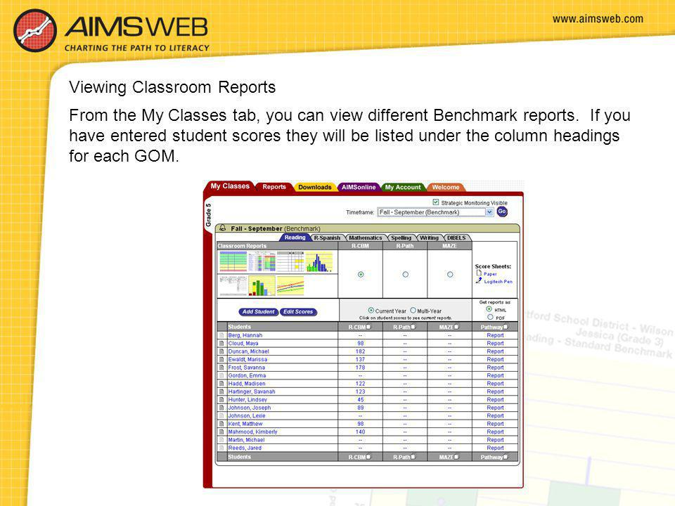 Viewing Classroom Reports