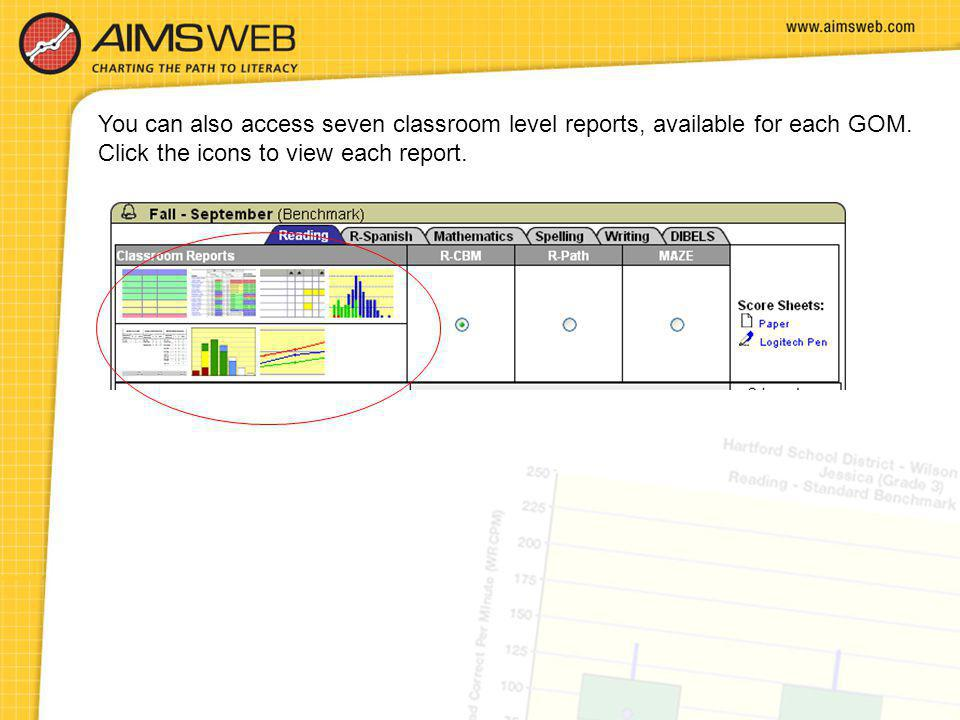 You can also access seven classroom level reports, available for each GOM.