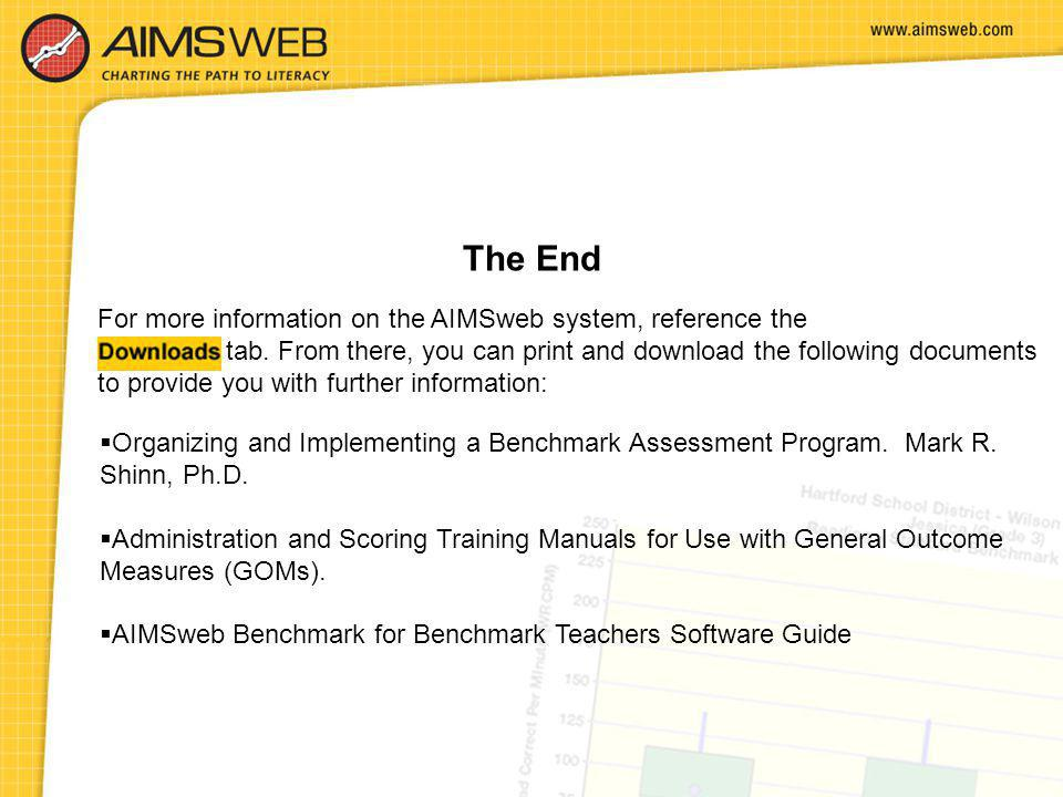 The End For more information on the AIMSweb system, reference the