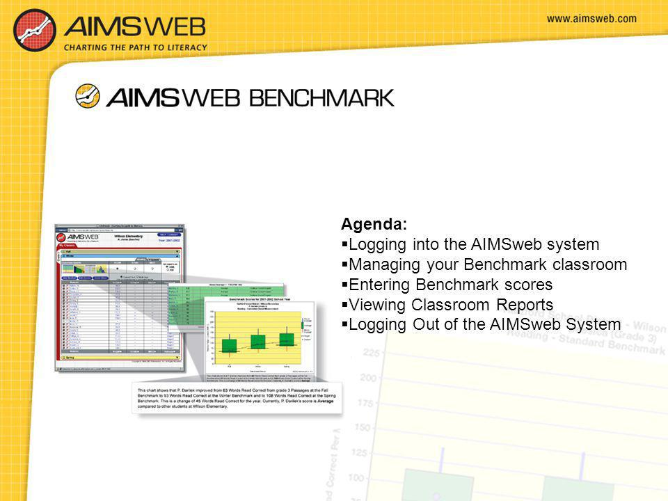 Agenda: Logging into the AIMSweb system. Managing your Benchmark classroom. Entering Benchmark scores.