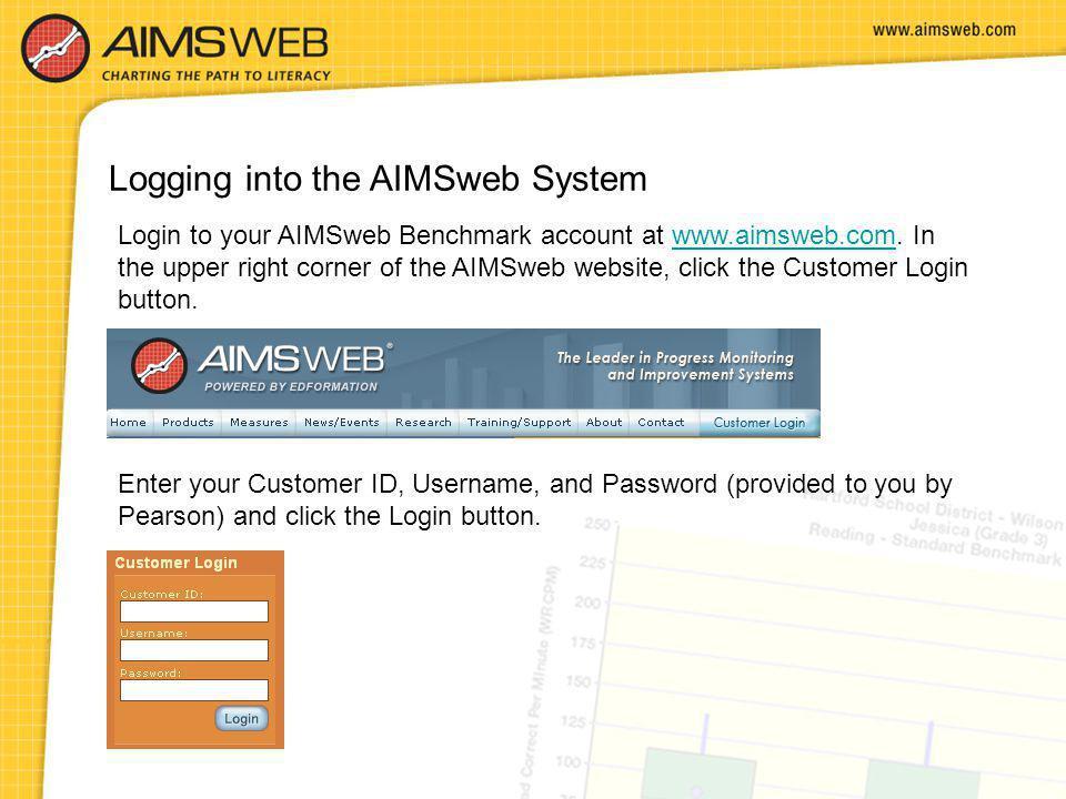 Logging into the AIMSweb System