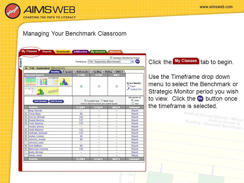 Managing Your Benchmark Classroom