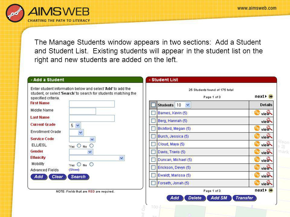 The Manage Students window appears in two sections: Add a Student and Student List.