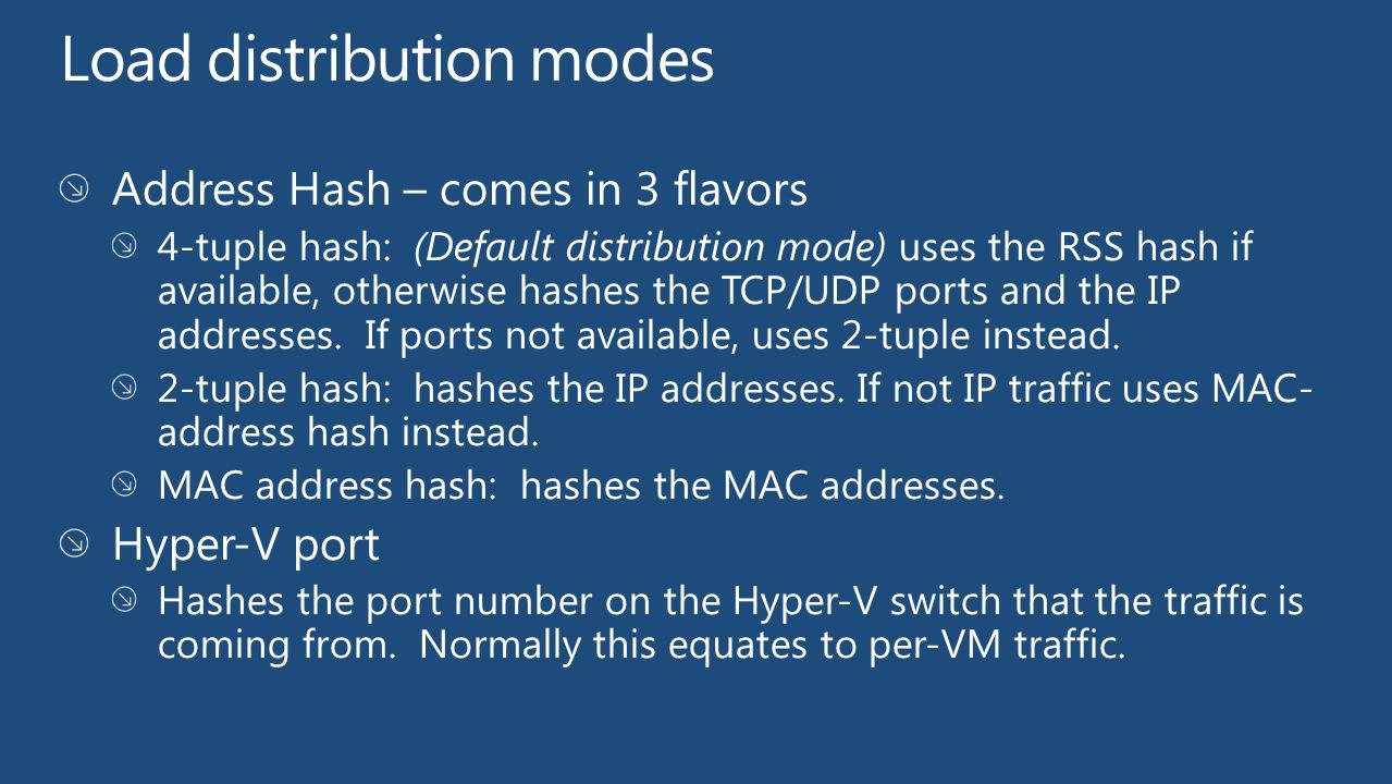 Load distribution modes