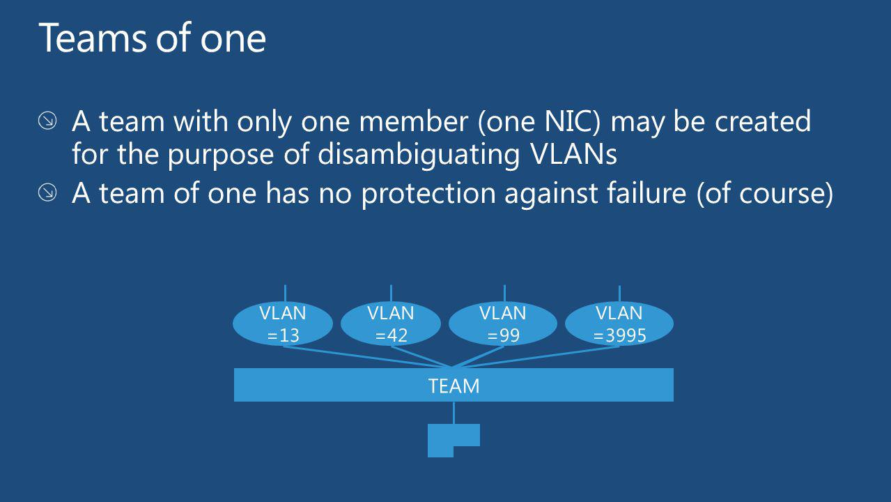 Teams of one A team with only one member (one NIC) may be created for the purpose of disambiguating VLANs.
